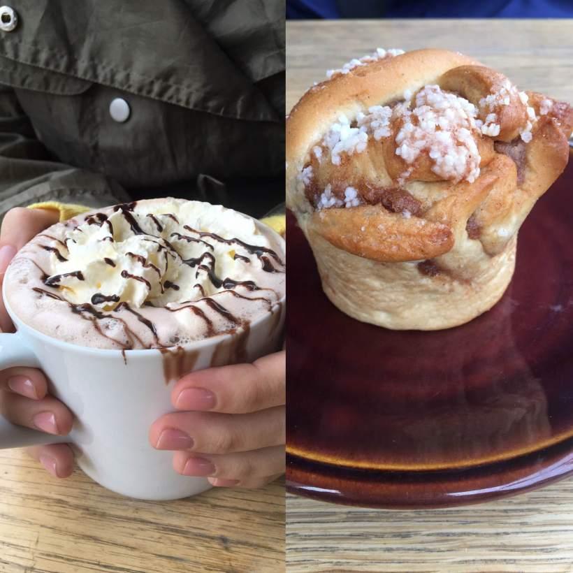 Hot choc and cinnamon bun